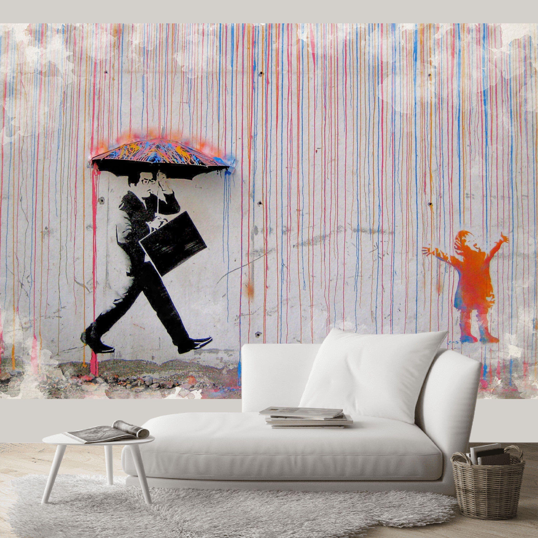 Banksy Wallpaper, Decal Banksy Coloured Rainbow Rain Art