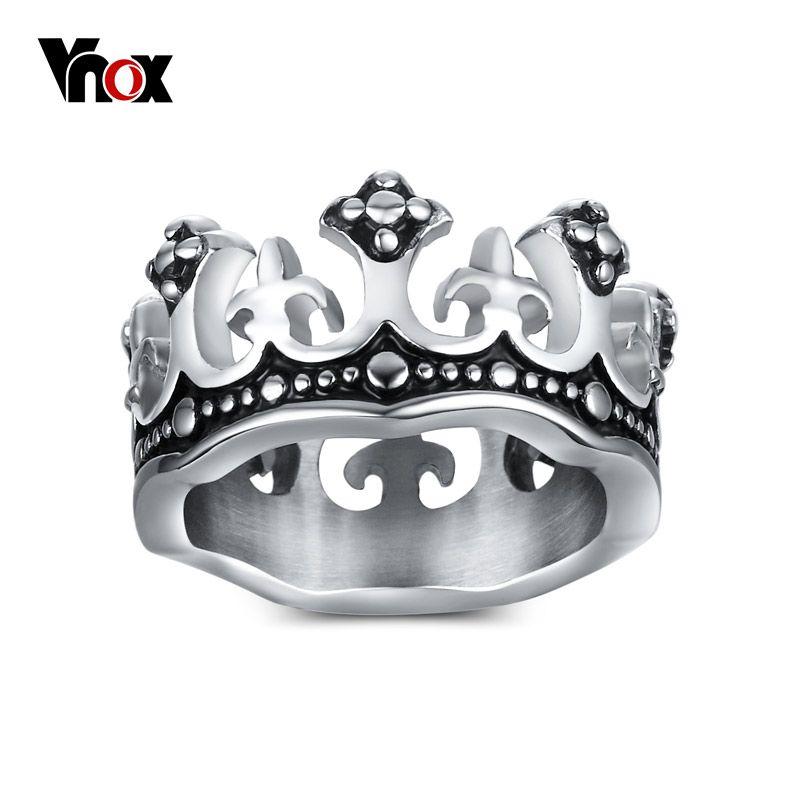 Vnox mannen ringen zwart koninklijke koning crown knight fleur de lis cross vintage ringen voor mannen sieraden