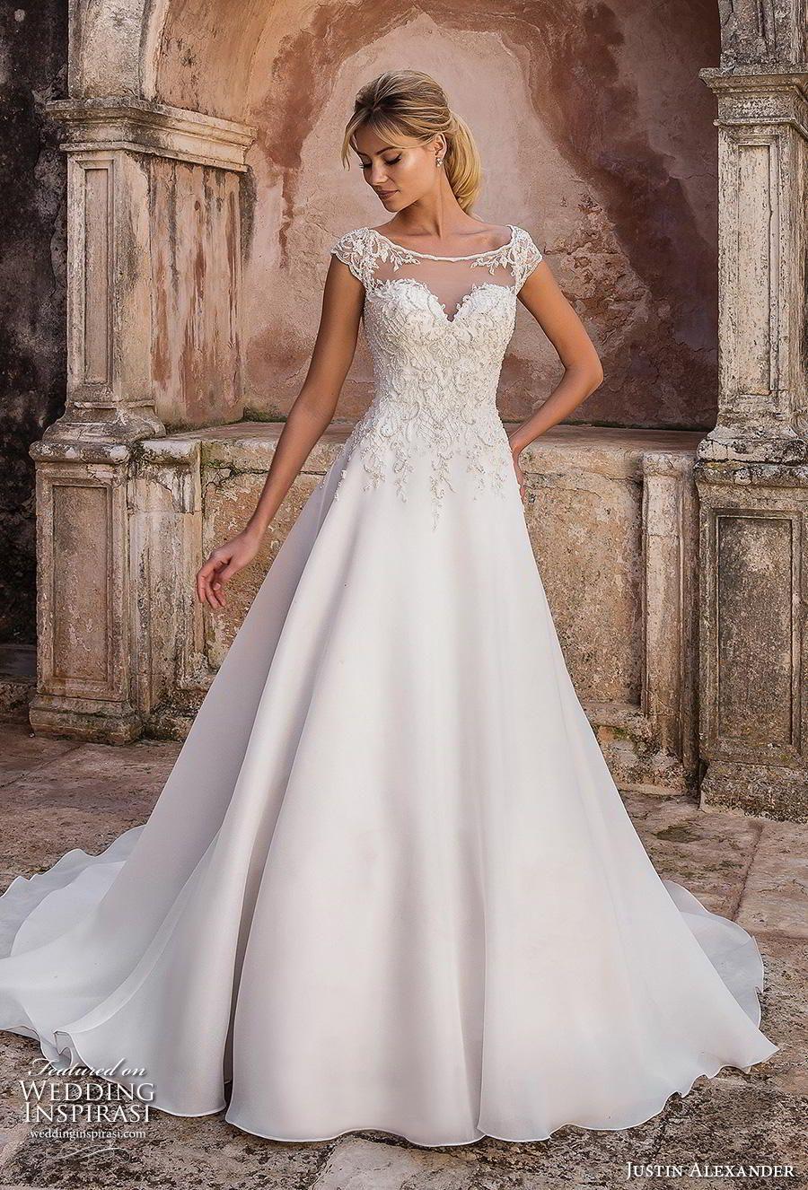 e63b62304513 justin alexander spring 2019 bridal cap sleeves illusion bateau sweetheart  neckline heavily embellished bodice classic romantic a line wedding dress  sheer ...