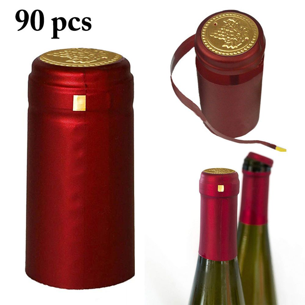 90x Shrink Capsules Pvc Heat Cap For Wine Bottle Winery Seal Cover Homebrew Red Wine Bottle Home Brewing Liquor Bottles