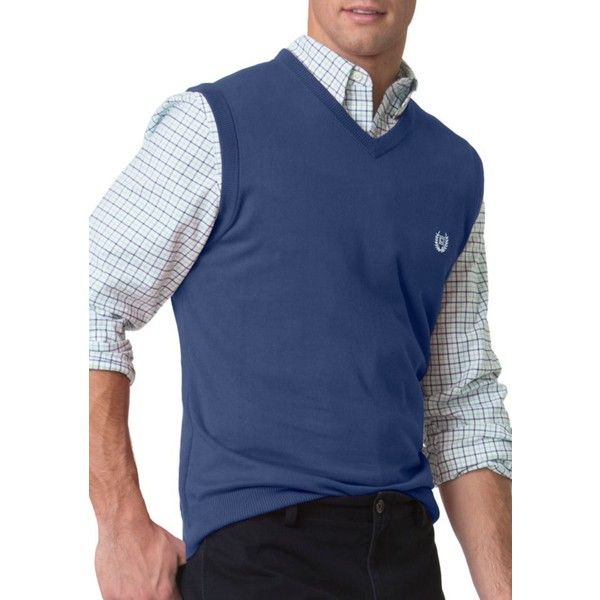 Chaps Deep Ocean Combed Cotton Sweater Vest ($13) ❤ liked on ...