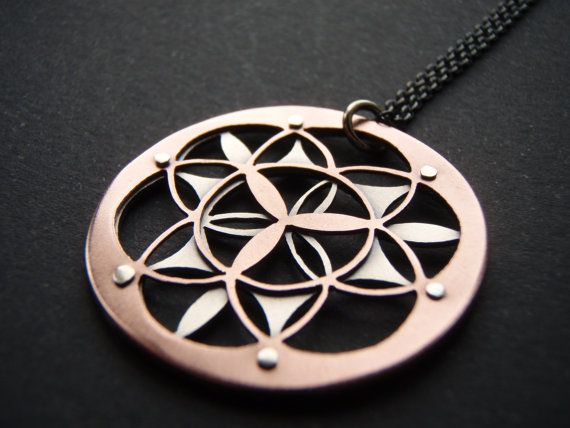 Double layer flower of life pendant oxidised copper and sterling double layer flower of life pendant oxidised copper and sterling silver mozeypictures Gallery