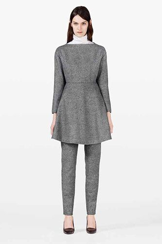 5 Non-Kooky Ways To Wear Dresses Over Pants #refinery29  http://www.refinery29.com/mystylist/carla-cabrera/dress-over-pants#slide4  Add A Turtleneck — This is a great example of taking pieces you already have and turning them into a super-chic new look. Wear your favorite gray, slim work trousers and a structured wool dress in a similar tone, then add a crisp white turtleneck.