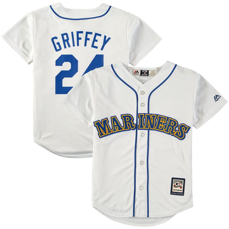3deb53dc3 Ken Griffey Jr. Seattle Mariners Majestic Youth Alternate Cooperstown  Collection Cool Base Performance Player Jersey