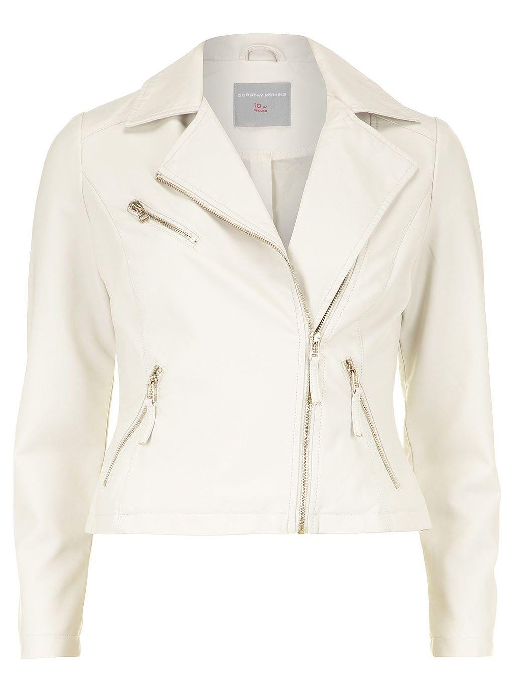 Leather jacket europe - Petite Ivory Biker Jacket Dorothy Perkins Europe