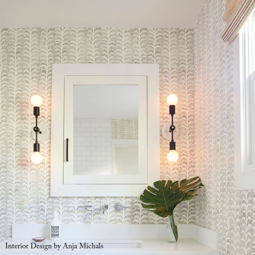 Dotted Palm Wallpaper in Ivory/Black Rebecca Atwood Designs