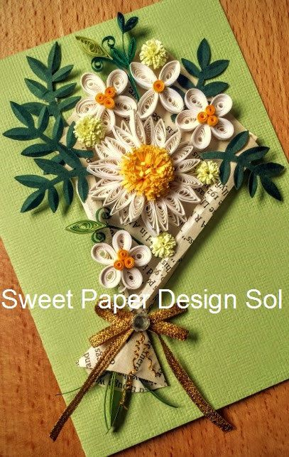 Paper quilling flower bokeh ukrandiffusion custom order paper quilled 3 daisy cards and 2 wreath cards for mightylinksfo
