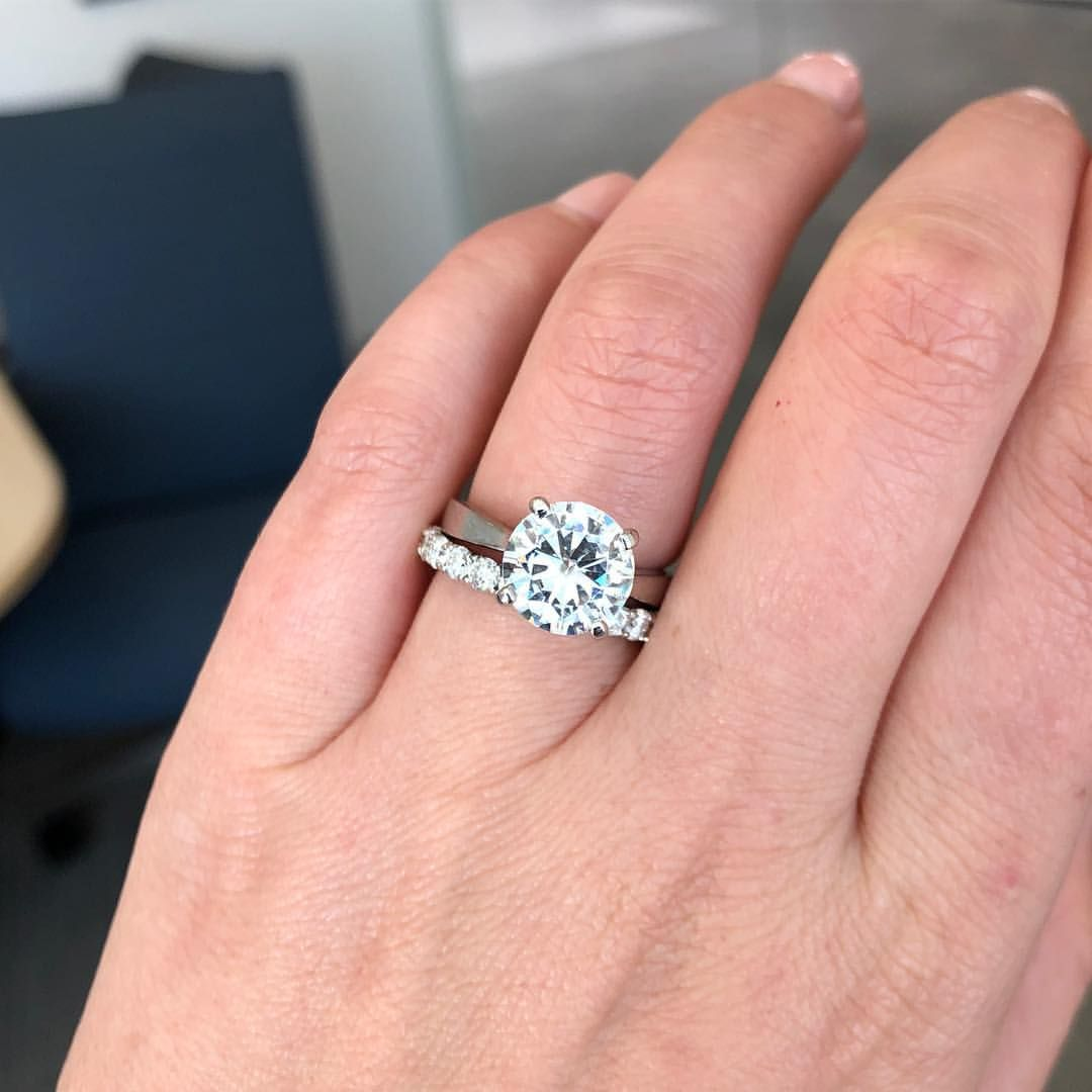 Round cut moissanite engagement ring one day future pinterest