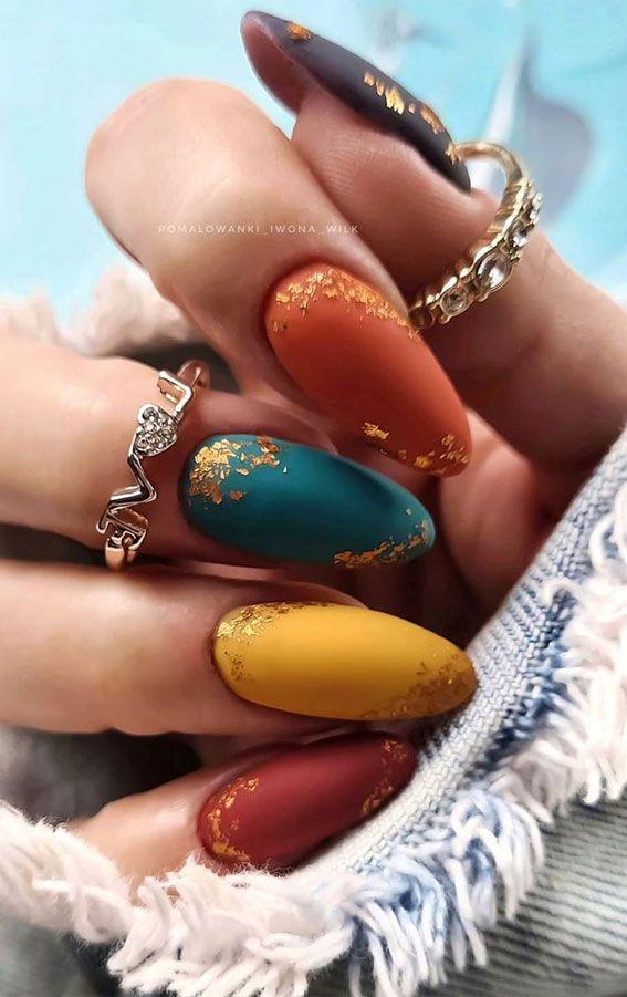 47 Beautiful Nail Art Designs & Ideas : Mismatched Jewel Tone Nails