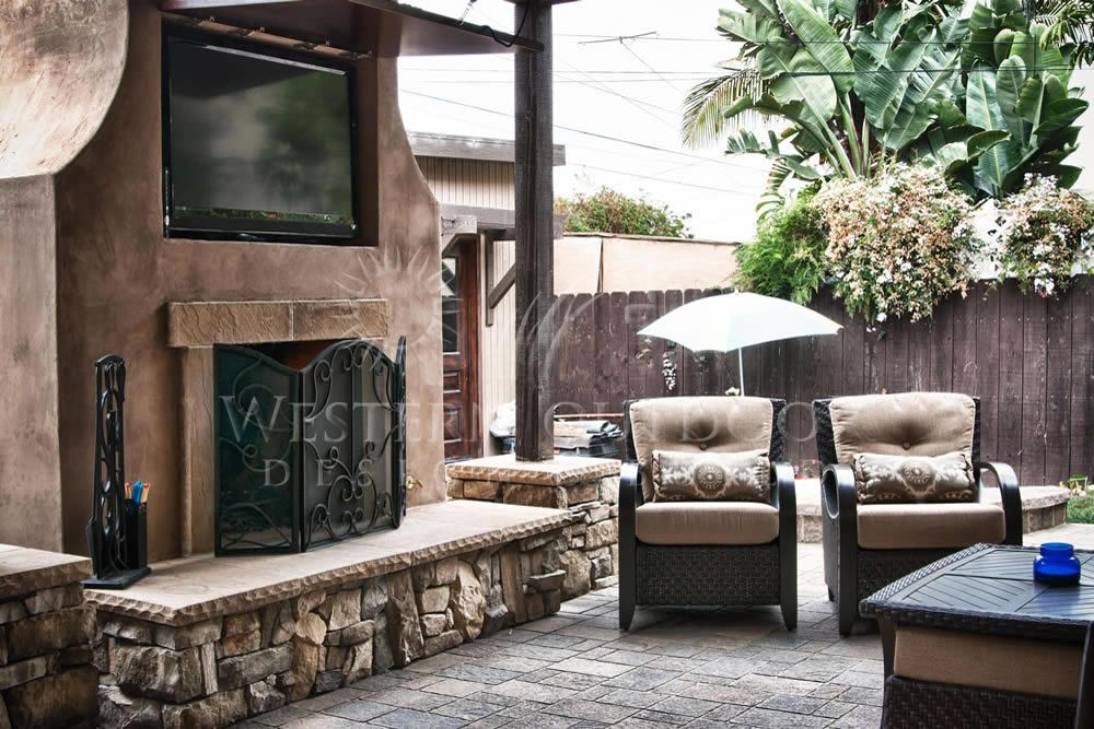 Outdoor Living Room with Fireplaces Gallery Western ... on Riverside Outdoor Living id=81936