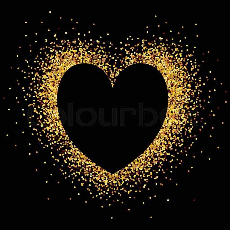 Stock Vector Of Hand Sketched Glitter Golden Heart Background For Valentine S Day Hand Dra Hand Sketch Art Deco Design Graphics Valentines Day Card Templates