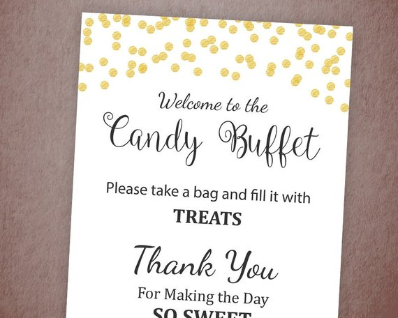 Gold Pink Rose /& Black Chalk Effect Love Is Sweet Candy Buffet Wedding Sign