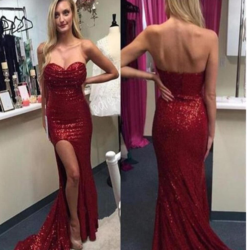 Popular sweetheart strapless mermaid sequined sparkly sexy with high