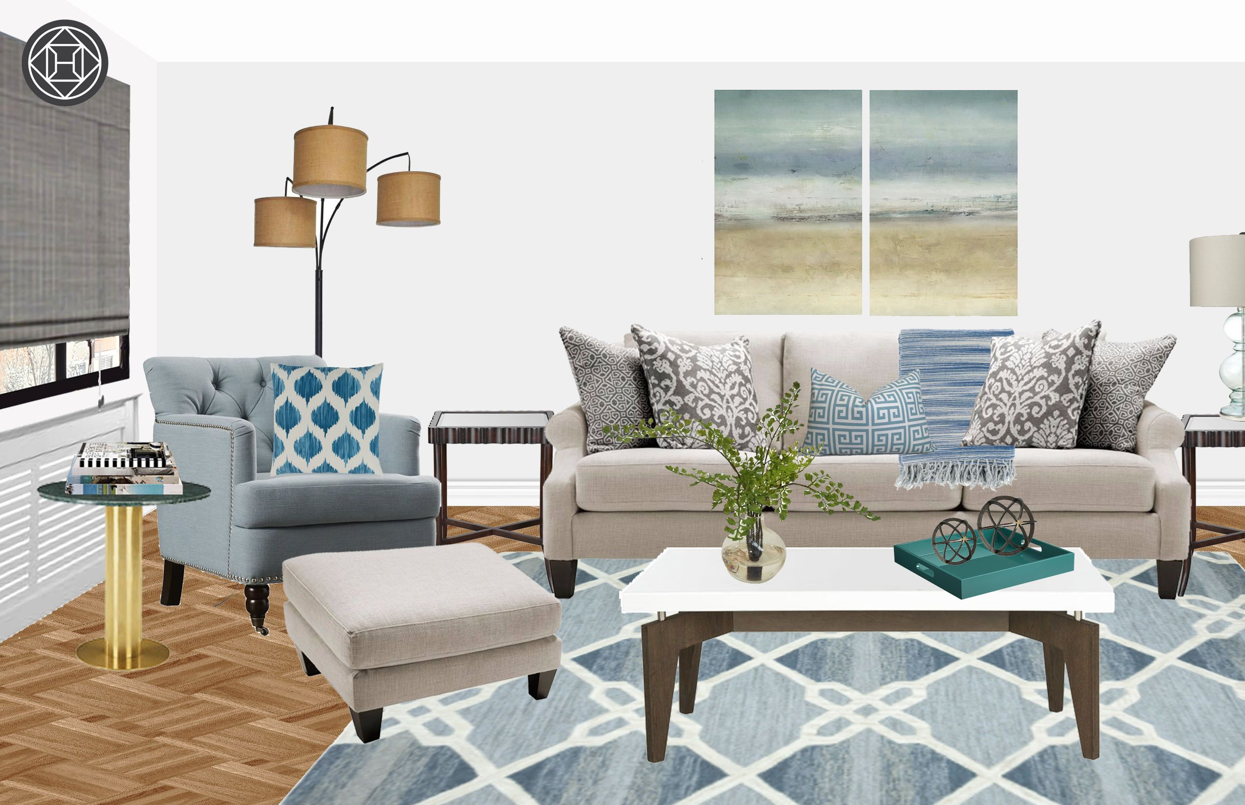 Contemporary, Classic, Transitional Living Room Design by