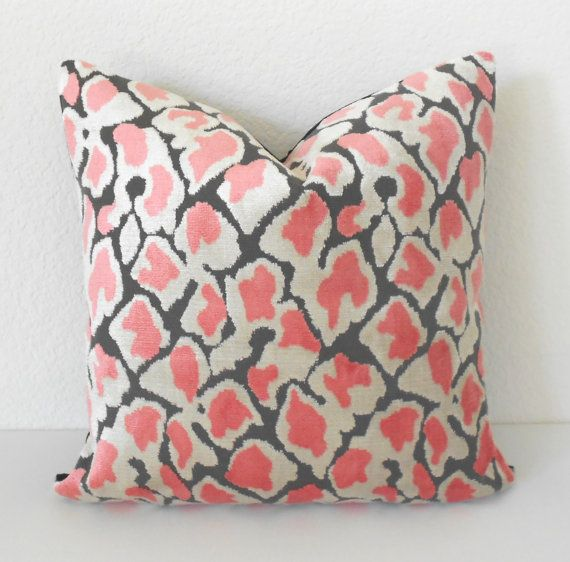 Double Sided Coral Pink leopard velvet by pillowflightpdx on Etsy ...