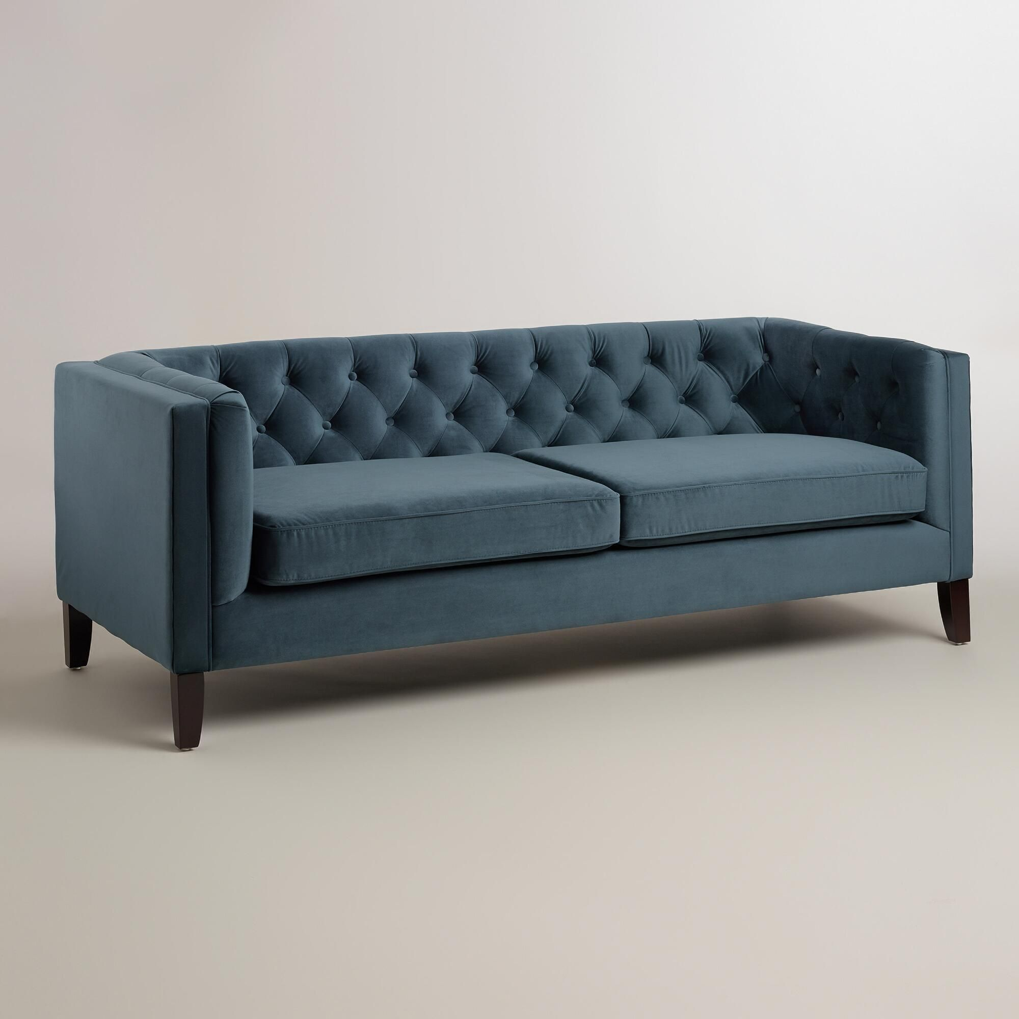 Midnight Blue Velvet Kendall Sofa   Fabric By World Market