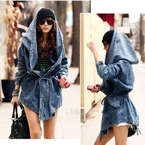 Classic Denim Oversize Lady Hoodie Hooded Outwear Winter Jacket Women Coat Gilet | eBay