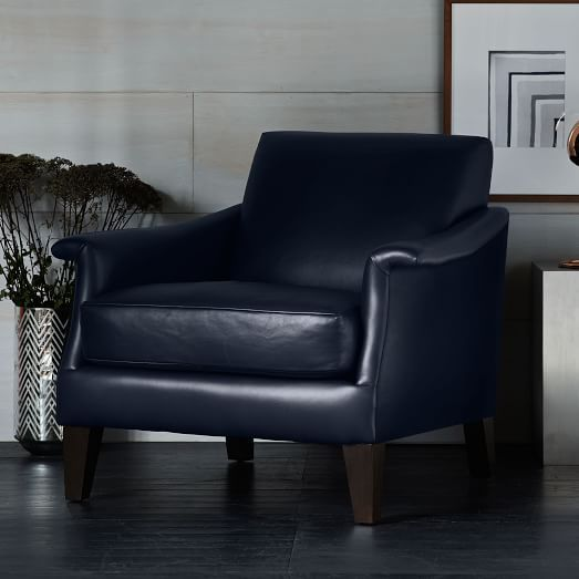 Genial Writeru0027s Leather Club Chair | Navy Blue Leather| West Elm (on Clearance  $800)