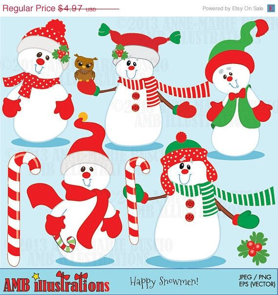 50% OFF Christmas Snowman Clipart Snowman Clip art Snowman | Etsy