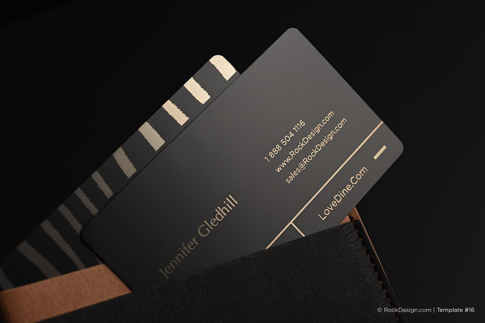 Fancy quick black metal business card with laser engraving - Dine ...