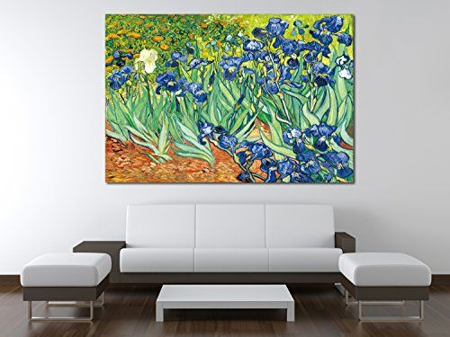 VAN GOGH IRISES OIL PAINT REPRINT  ON FRAMED CANVAS PICTURE WALL ART DECORATION