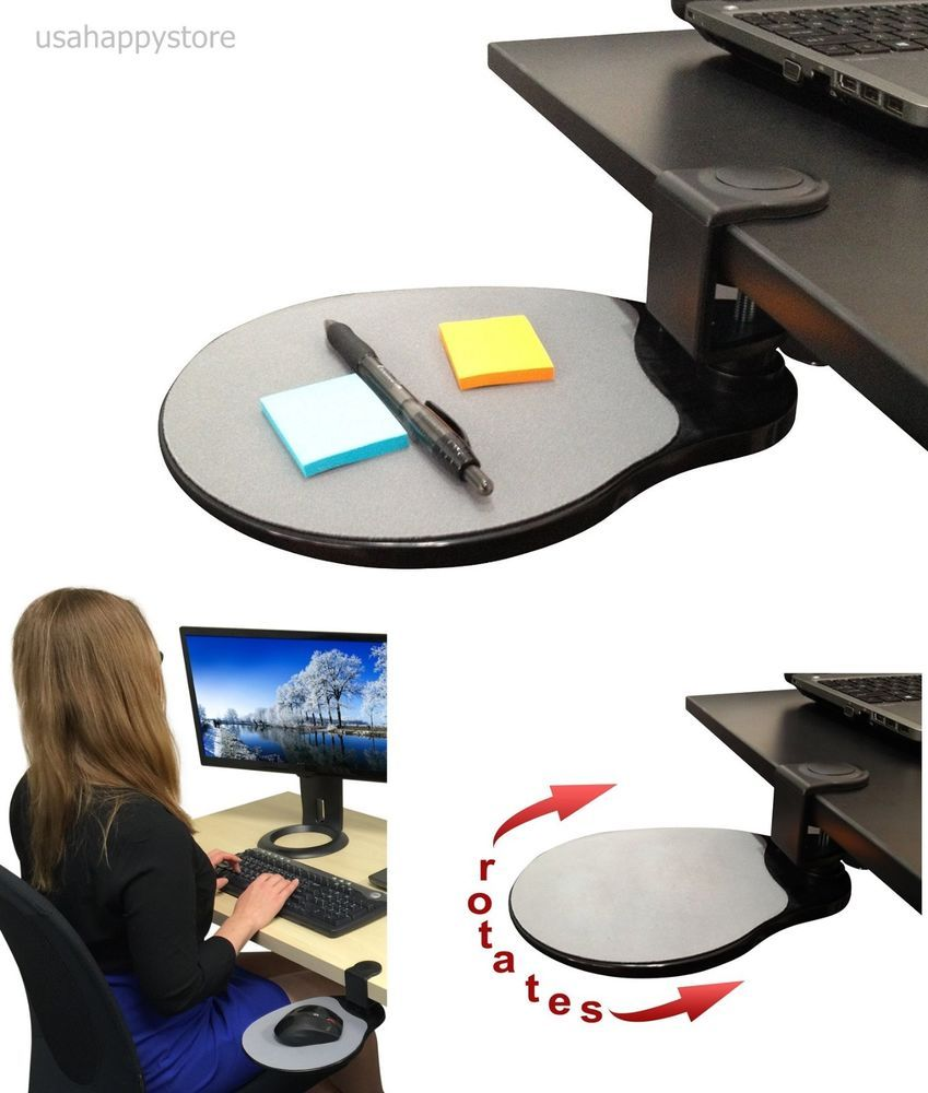 Under The Desk Shelf Mouse Pad Attachable Table Computer Phone Holder Organizer