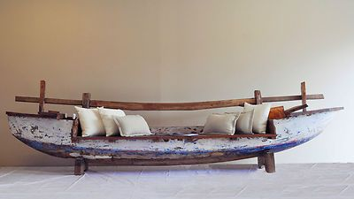 Full Boat Bench   Day Bed, Outdoor Lounge, Timber, Fishing Boat, Bali