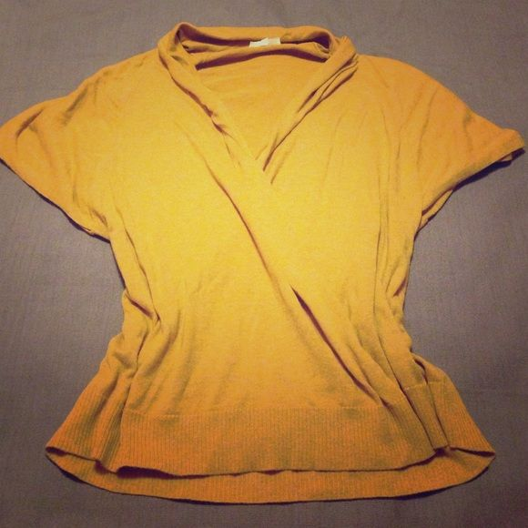 SATURDAY SALEEILEEN FISHER sweater 100% organic cotton, mustard color, short sleeve. Says x-small but it will fit large or exta large. Pit to pit - 22.5, length - 27 Eileen Fisher Tops
