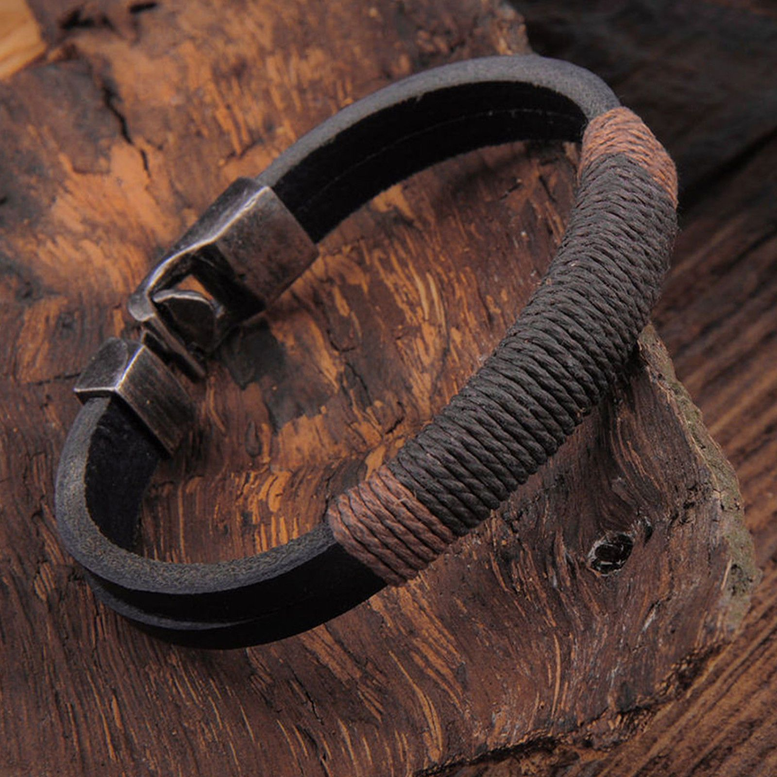 Mens Brown Braided Genuine Leather Wristband Bracelet Stainless Steel Surfer