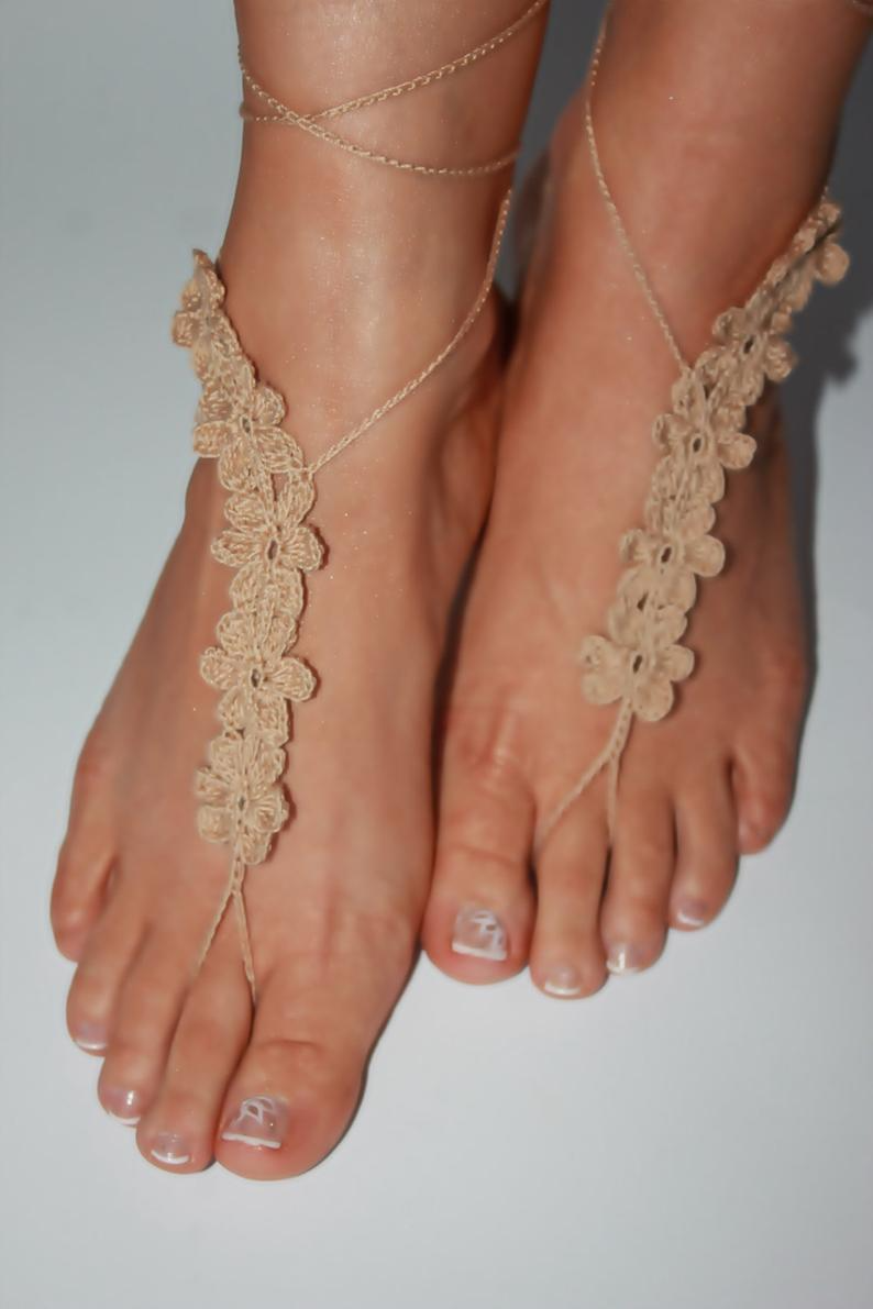 Barefoot Sandals Wedding Shoes Wedding Anklets Lace Barefoot Sandals Hand-woven Barefoot Sandals Beach Weddings Pool Parties