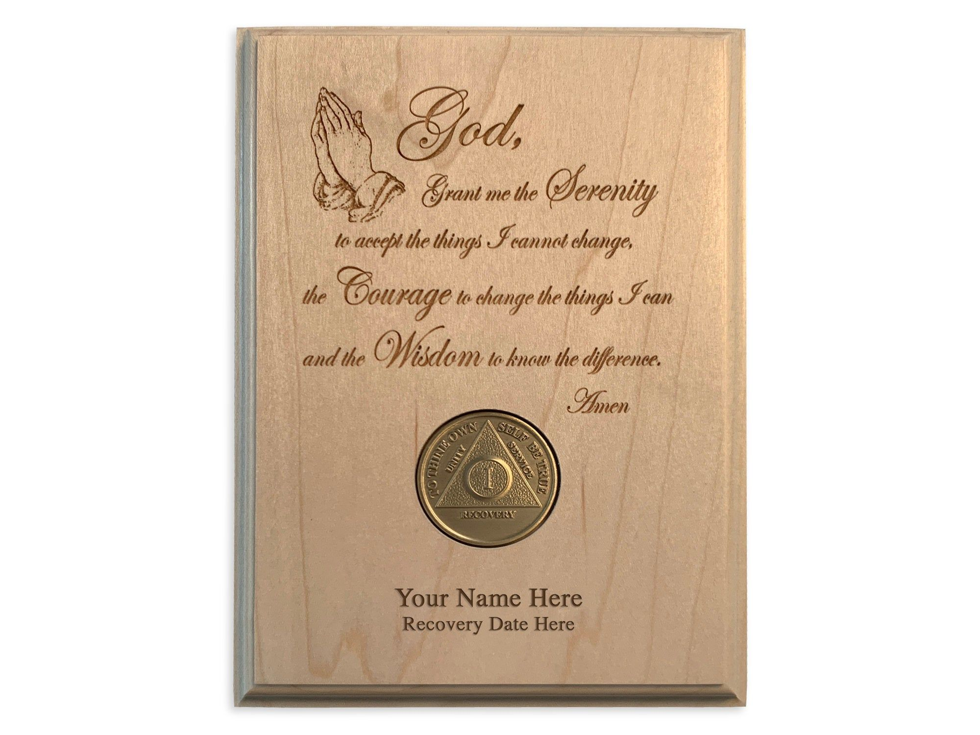 Recovery Medallion Holder Personalized 12 Step Serenity