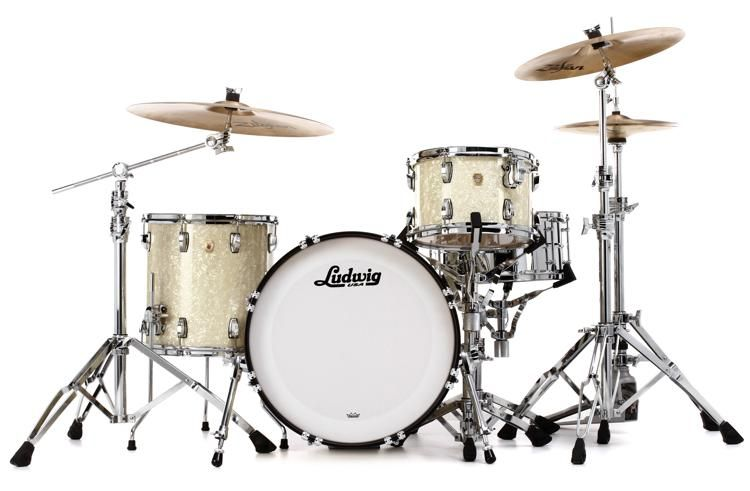 Ludwig Classic Maple Downbeat 20 Shell Pack Vintage White Marine White Vintage Vintage Marine