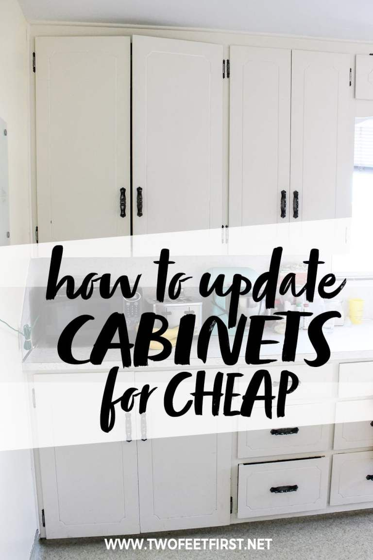 Update Kitchen Cabinets for Cheap - Update kitchen cabinets, Cheap kitchen cabinets, Diy kitchen cabinets makeover, Update cabinets, Cheap kitchen makeover, Kitchen diy makeover - Are you wondering how to update your kitchen cabinets on a budget  This is a simple way to make your cabinets look modern with paint and trim