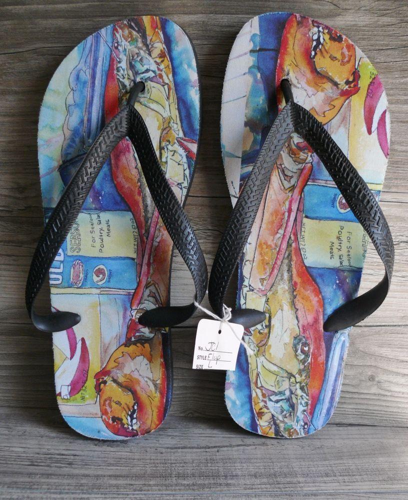 f0ef1fe5e79b3f Old Bay Crab Flip Flops Size Large Colorful Design Beach Shower Summer  Sandals  Unbranded  FlipFlops  Beach  22.99