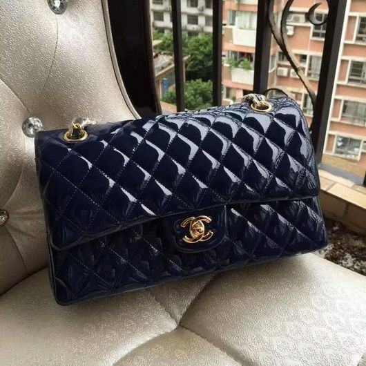 3cb050340f4f Wholesale Chanel 1112 Flap bag navy blue skin Leather gold