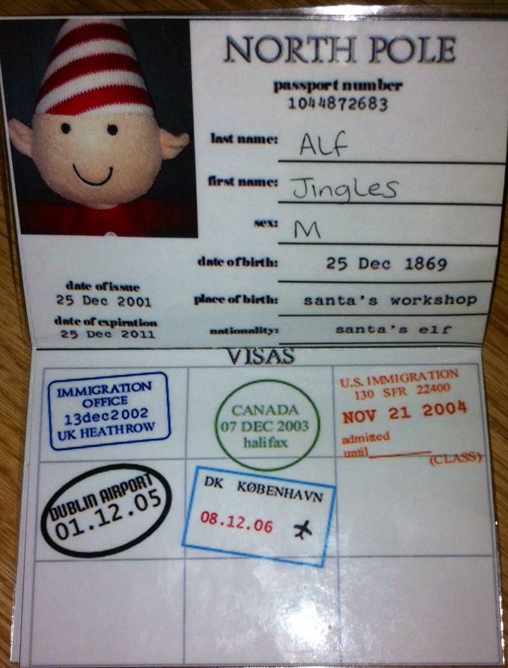 Elf On The Shelf Passport Home Made Pere Noel Noel Passeport