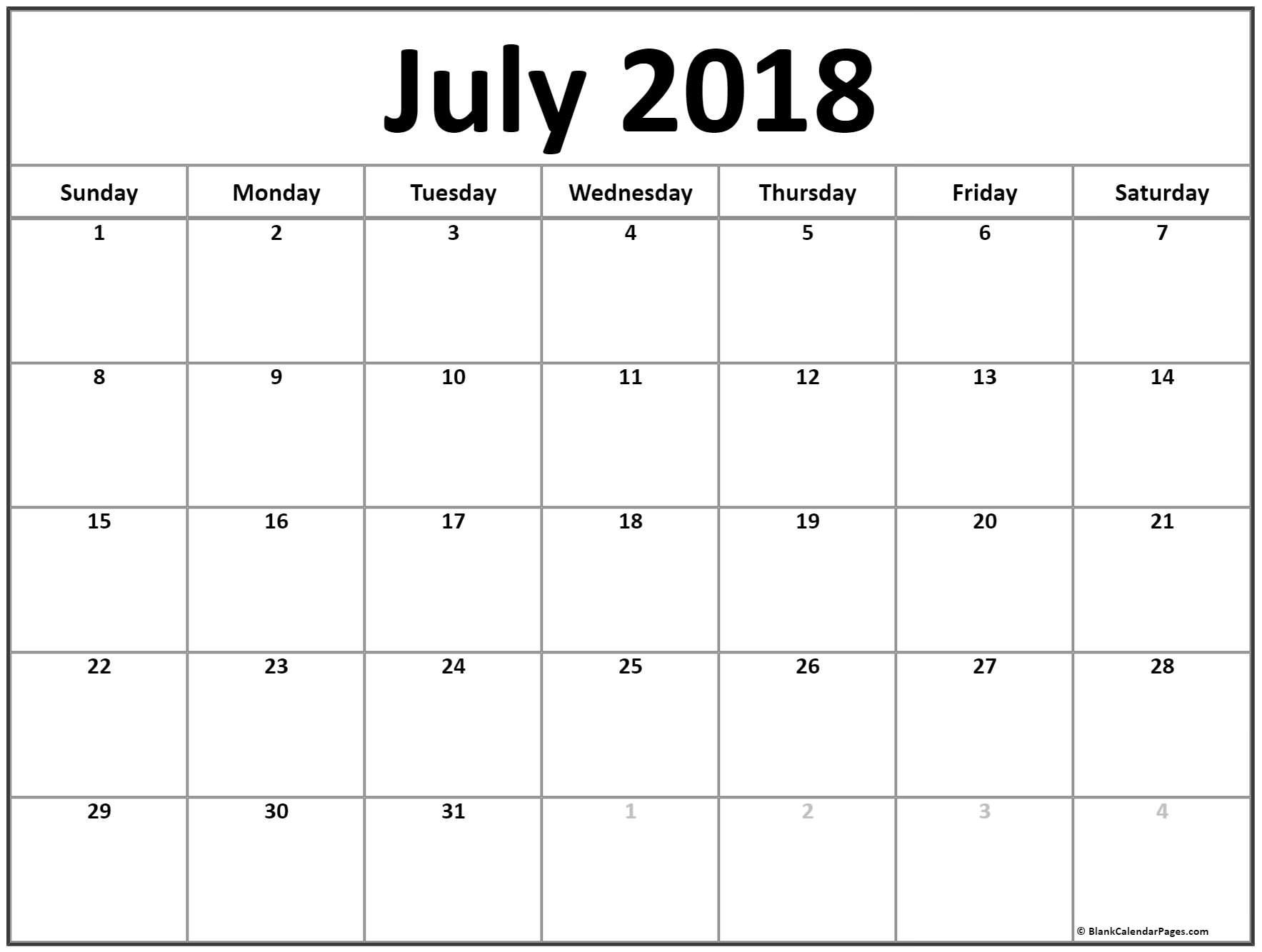 July 2018 Calendar July Calendar 2018 Printable And Free Blank Calendar July Printable Printable Calendar Template Monthly Calendar Printable July Calendar