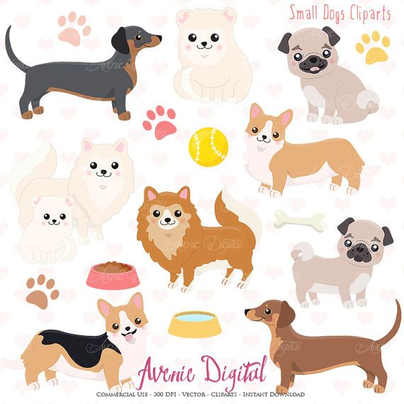 Cute Dog Clipart Scrapbooking Printables Vector Eps And Png Etsy Cute Dogs Cute Animal Drawings Animal Clipart