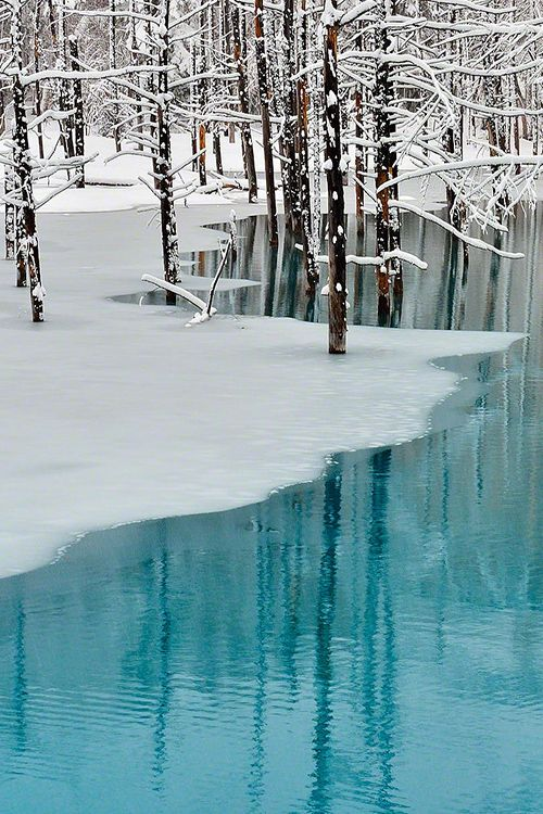 Blue Pond & Spring Snow,Hokkaido | Kent Shiraishi ~ Now, this is what I call perfect world!