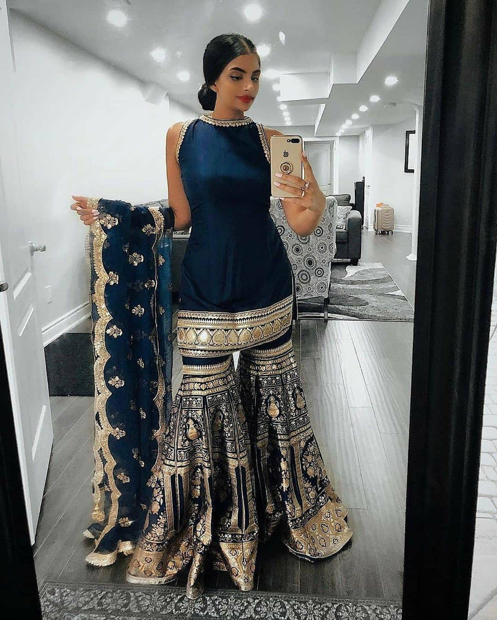 blue designer gown lengha Sharara Indian ethnic tr