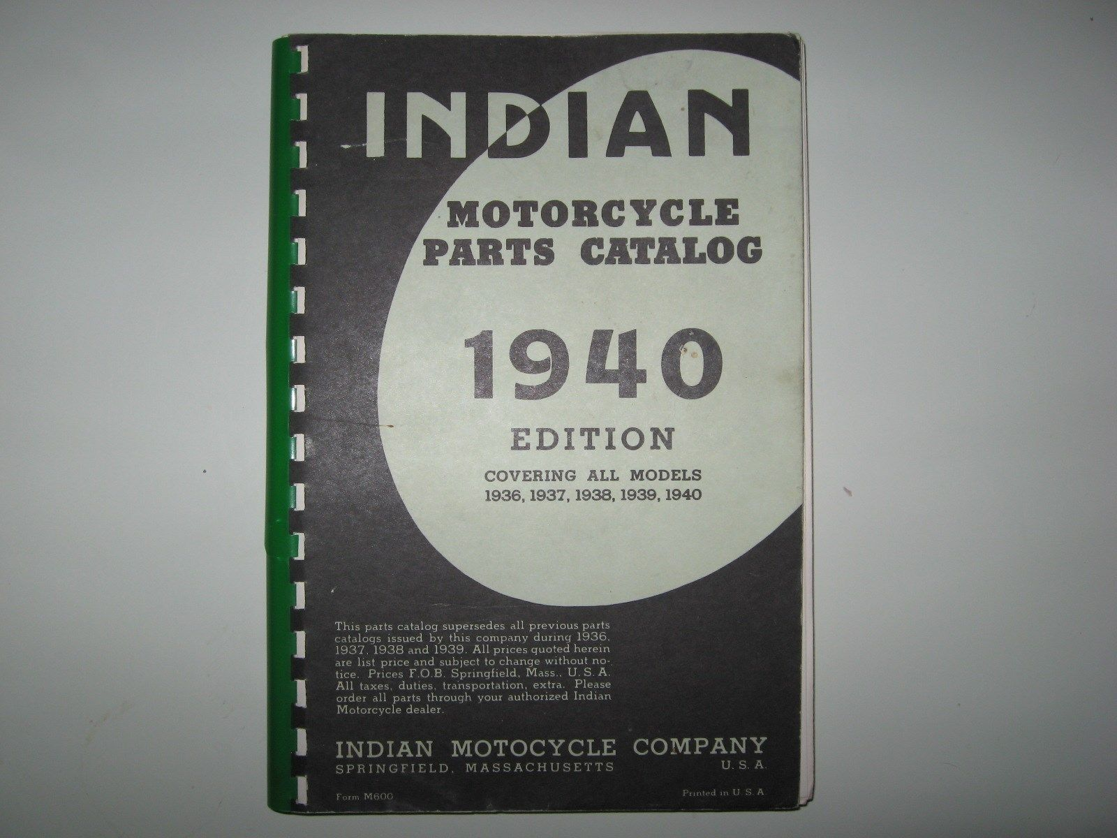 Original Indian Motorcycle Parts Catalog 1936 1940 Sport Scout Chief Four