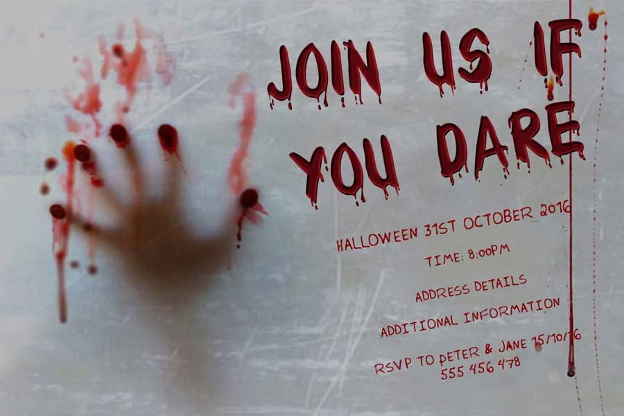 If You Dare in 2020 Halloween party invitation template