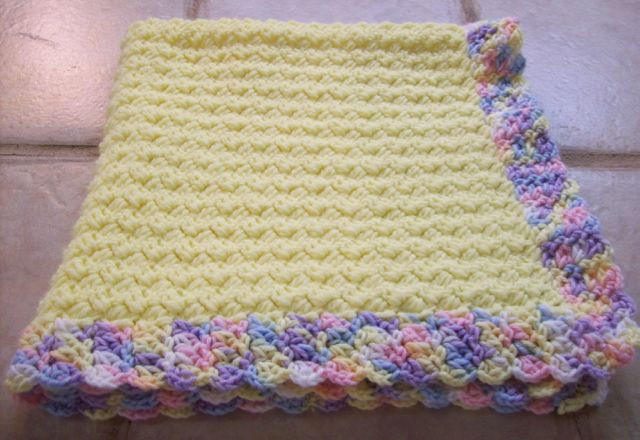 Baby blanket crocheted using a pattern recommended by Project Linus to donate.