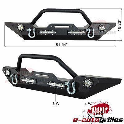 Rock Crawler Rear Bumper Built-in LED lights /& D-ring for Jeep Wrangler 07-18 JK