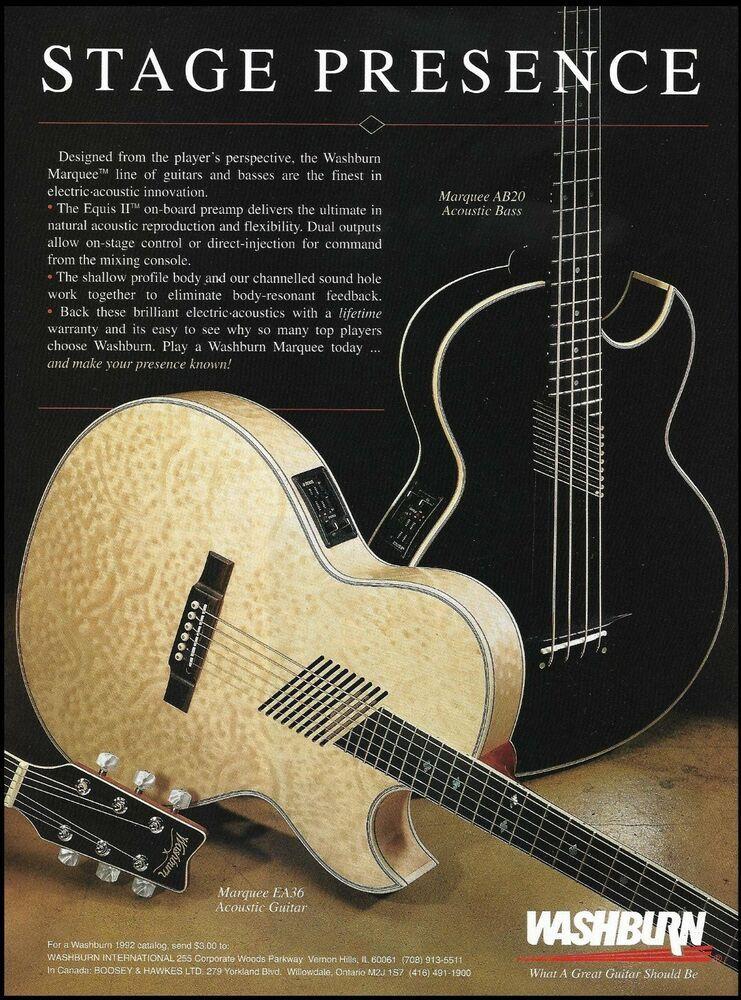 Washburn Marquee Series Ea36 Acoustic Ab20 Bass Guitar Ad 8 X 11 Advertisement Washburn Guitar Washburn Bass Guitar