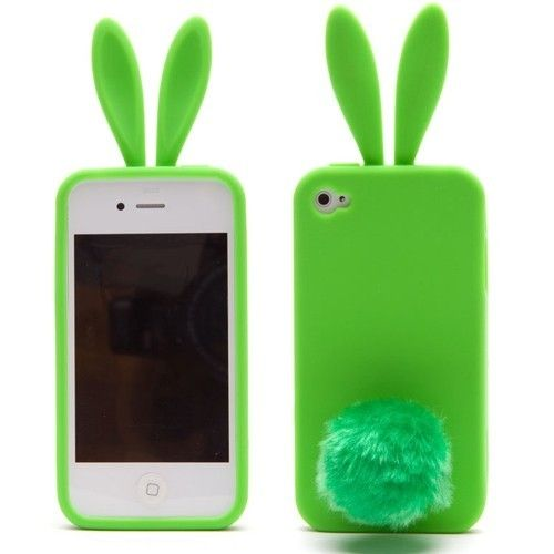 Lovely Rabbit Silicone Bunny Case For iPhone 5 with Furry Tail - Green