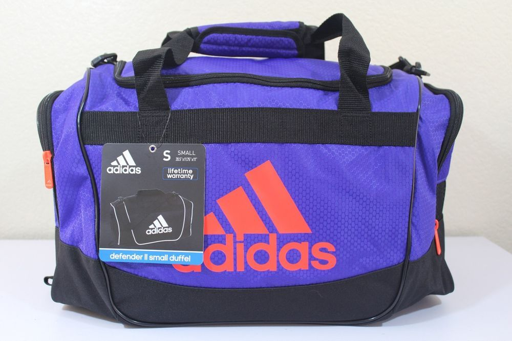 0536c85c19c2 adidas defender II small duffel gym bag purple 20.5