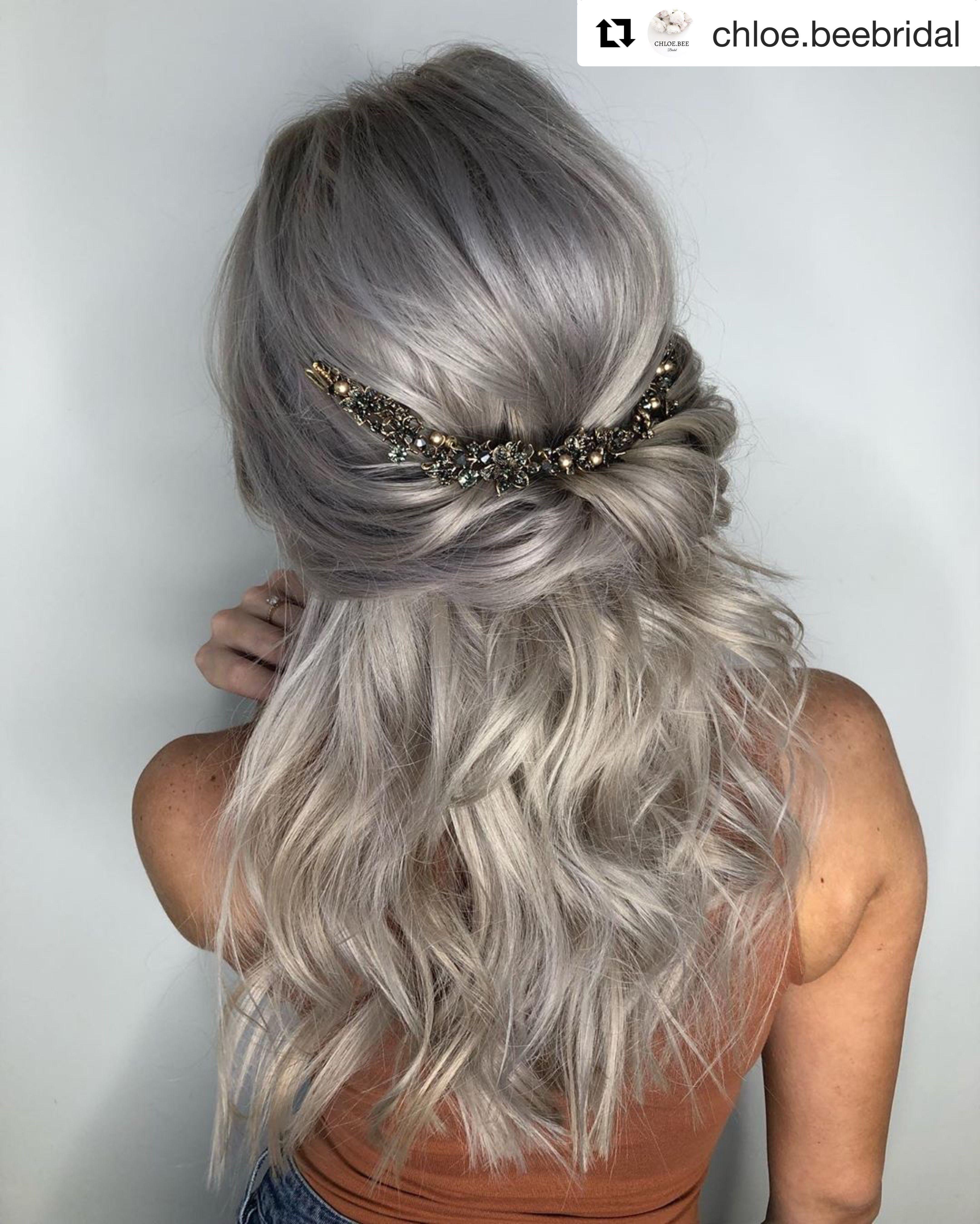 Ash Blonde Wavy Curly Half Up Half Down Wedding Hair Style