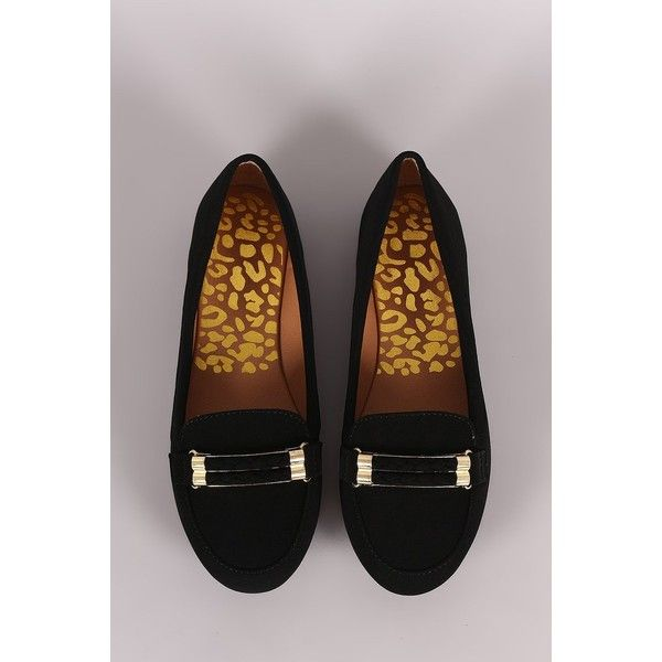 Qupid Double-Strand Slip-On Loafer Flat ($33) via Polyvore featuring shoes, flat slip on shoes, round toe shoes, flat pumps, qupid shoes and slip-on loafers