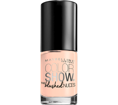 First apply a clear base coat to prevent your nails from yellowing and to help your nail color last longer. With one sweep of Maybelline Color Show Nail Lacquer, paint the first line of nail polish up the center of your nail starting from the base to the tip. For the cleanest look, be sure to leave a small space at the base of the nail. Then apply nail color to the rest of the nail.